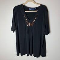 Susan Graver Women's Liquid Knit V-neck Top Size XL Metallic Stones Black Casual