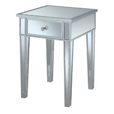 Convenience Concepts Gold Coast End Table w/Drawer, Silver/Mirror - 413345SS