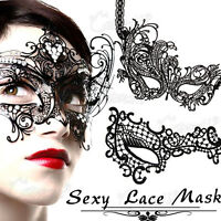 UK Black Stunning Venetian Masquerade Eye Mask Halloween Party Lace Fancy Dress