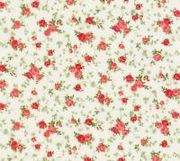 Shabby Tiny Coral Rose Cream Cassandra Robert Kaufman Cotton Quilting Fabric