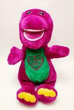 "BARNEY Purple Plush Singing I Love You Talking Dinosaur Large Stuffed Toy 11"""