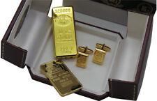 GOLD BAR BULLION Ingot style Luxury Cufflinks Cigarette Lighter Bar Gift Case