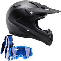 Matte Black Adult Motocross Helmet Combo Blue Gloves Goggles DOT
