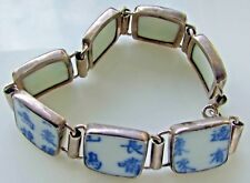 Sterling Silver Blue Willow  Chinese Characters  Tile Bracelet  Link Panel 7 ""
