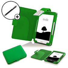 In pelle VERDE CASE COVER SLEEVE LED Luce di lettura Amazon Kindle 2016 & Stylus