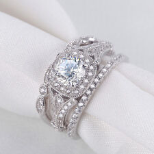 2.6CT 3PCS Round White Cz 925 Sterling Silver Wedding Engagement Ring Set Size 5