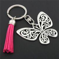 Butterfly Keychains Pink Tassel Key Ring Men Women Keyring Bag Charm Keys Chain