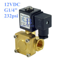 """DC12V G1/4"""" Brass Electric Solenoid Valve 232 psi Normally Closed Air Water"""