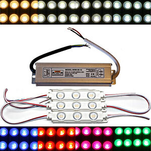 20x LED Module+30 Watt Supply - 12V 5730 Chip Warm White Red Blue Injection