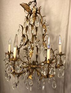 Vintage Italian Gold Gilt Chandelier Tole Birdcage 12 Arm Crystal & Brass Light
