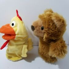 Lot of 2 Hand Puppets Chicken Rooster & Furry GRIZZLY Bear MANHATTAN TOY CO 1998