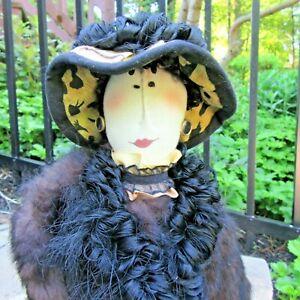 "artisan CARMEN MANAGO doll ""Fiona"" w/ leopard skirt & rabbit fur 24"" lady"