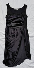 AS NEW Marnie Skillings Size 8 Dress Black Silk Wool Draped Sleeveless Event