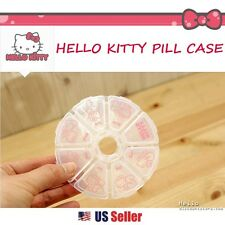 Sanrio Hello Kitty Round Pill Case Box Organizer Container Vitamin Storage
