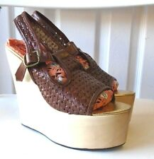 IRREGULAR CHOICE GABES GIRL BROWN WOVEN LEATHER WEDGES PLATFORM SHOES 8.5 NEW