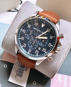 Michael Kors Mens Gage Leather Chronograph Watch MK8362