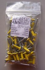50 Blindniete Alu/Stahl 4,8x14 gelb lackiert Flachkopf