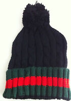 NEW DESIGNER WINTER FASHION CABLE KNIT WOOLY BOBBLE HAT BEANIE    STRIPED