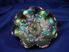 "ELECTRIC AMETHYST PURPLE CARNIVAL  8-1/2""  BOWL STRAWBERRY UNSIGNED NORTHWOOD"