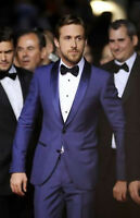 Men Blue Slim Fit Suit Groomsmen Tuxedo Formal Suit Wedding Party Wear Coat+Pant