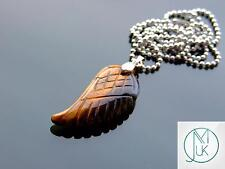 Tigers Eye Gemstone Angel Wing Pendant Necklace Natural Chakra Healing Stone