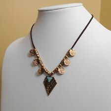 Boho Triangle Coins 17 Inch Bohemian Antique Gold Faux Turquoise