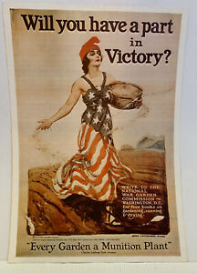 """VTG Will You Have a Part in Victory? WWI Repro Victory Garden Poster 9.75""""x14"""""""