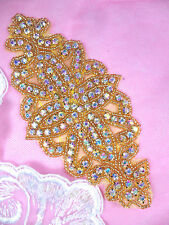 """DH8 Crystal AB Gold Beaded Applique Glass Rhinestone Pageant Costume Patch 6"""""""