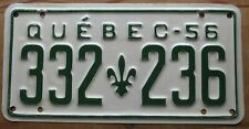 Quebec 1956 License Plate NICE QUALITY # 332-236