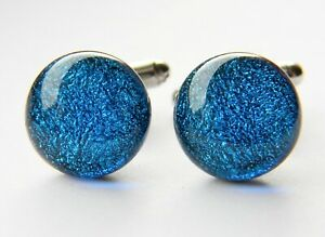 Genuine Dichroic Glass Hand Crafted Cufflinks - Kingfisher Blue Shimmer
