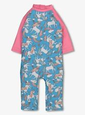 BNWT Baby Girls Blue Pink Unicorn UPF40+ UV Sunsuit Sunsafe Protective Swimsuit