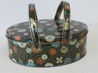 VTG OVAL TIN BASKET SEWING BLACK FLORAL DUTCH MAID CHOCOLATE ADVERTISING