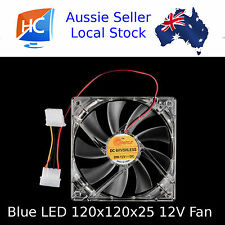 Blue LED Case Fan 120mm x 120mm x 25mm 4pin 12V Cooling Fan - Aussie Seller