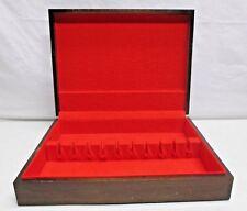 Vintage Wooden Flatware Silverplate Storage Chest Box Red Lining Anti Tarnish