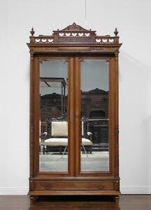 Antique French Renaissance 2 Door Armoire Wardrobe Cabinet
