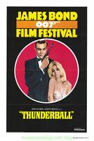 THUNDERBALL MOVIE POSTER Original 27x41 Folded R1975 JAMES BOND FILM FESTIVAL