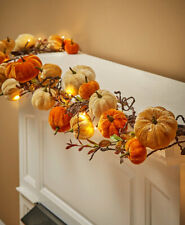 5-Ft Elegant Lighted Velvet Fall Pumpkin Thanksgiving Garland