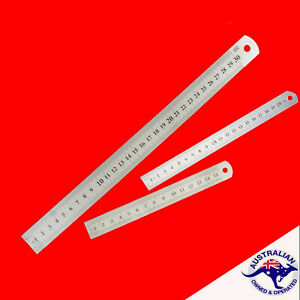 Double Sided Stainless Steel Metal Ruler Rule Precision 15cm  20cm  30cm