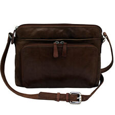 New Womens Leather Crossbody Bag Handbag Purse with Organizer, Brown