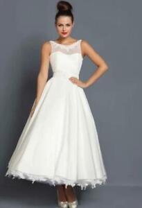 Lou Lou Wedding Dress 16 Tea Length Taffeta & Lace 1950s Style *NO BELT*