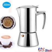 200ml Stainless Steel Latte Moka Express Stovetop Espresso Maker Pot Coffee Home
