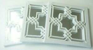 """White Wall Mirrors 9 1/2"""" x 9 1/2"""" Abstract Pattern Set of 3"""