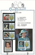 NUKUFETAU - Tuvalu - 1986 Set - THE QUEEN'S 60th BIRTHDAY Stamps & M/sheet  MNH