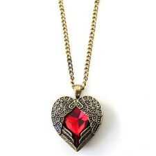 Sweater Necklace Angel Wing Red Crystal Heart Long Chain Womens Pendant Necklace