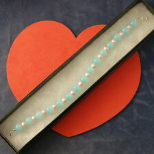 "Beautiful Bracelet With Pink Pearls And Opaline Gems 8"" Inches Long In Gift Box"