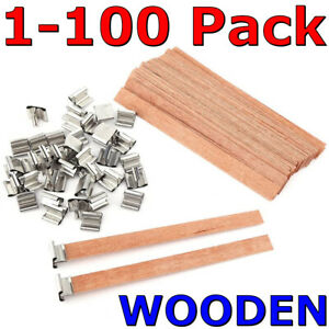 Wooden Candle Wicks Core Supplies with Sustainer DIY Wax Making Thick Low Smoke