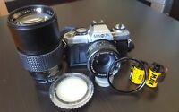 Minolta X500 35mm Camera+ 50mm f/1.7 Lens + 200mm Magnon Auto Tele Lens 1:3:3