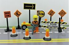 Lego City Town Village CUSTOM construction set. Traffic signs. Minifigure & more