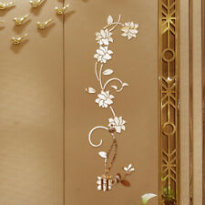 3D Mirror Flower Art Wall Sticker Acrylic Mural Decal Home Room Removable Decor
