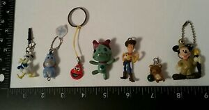 7 mini figures Disney MICKEY Woody eeyore PHONE CHARM JACK PLUG zipper pull LOT